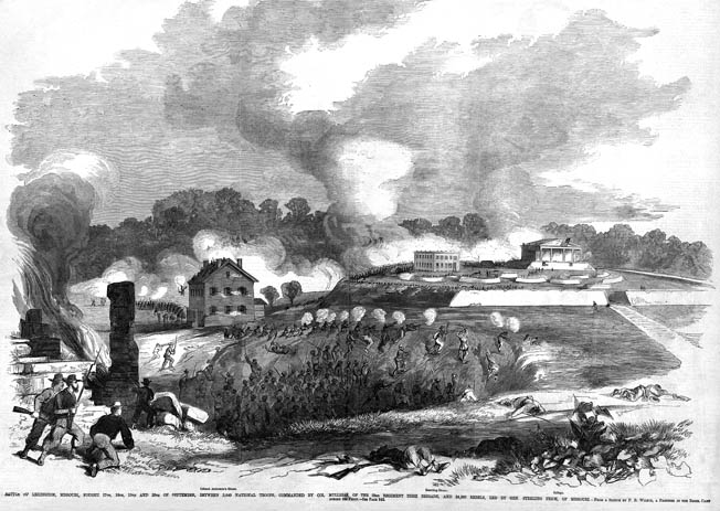 A bird's-eye view of the Confederate attack on Lexington shows the hemp bales at the center, with gunsmoke rising prettily above them. The Masonic College is in the right background.