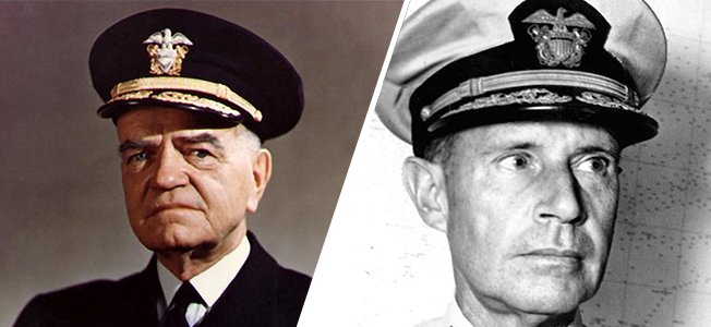 American Admirals William F. Halsey and Raymond A. Spruance defeated the Japanese in the Pacific but took different approaches to command.