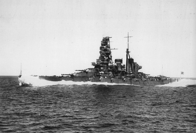 The Japanese battleship Haruna is photographed underway at sea. One of the battleship's floatplanes actually spotted the British aircraft carrier Hermes in the Indian Ocean, initiating the air attack that led to the carrier's sinking.