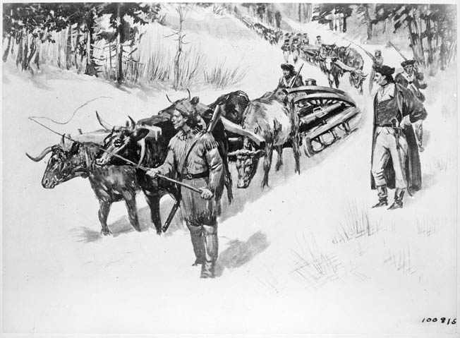 Colonel Henry Knox and his men transported 58 heavy guns captured at Fort Ticonderoga 300 miles in the winter of 1775-1776 to Boston. When they were deployed in various positions overlooking the city and harbor, the British were compelled to evacuate on March 17, 1776.
