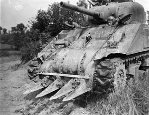 Blades were welded on the hulls of tanks to push through the hedgerows.
