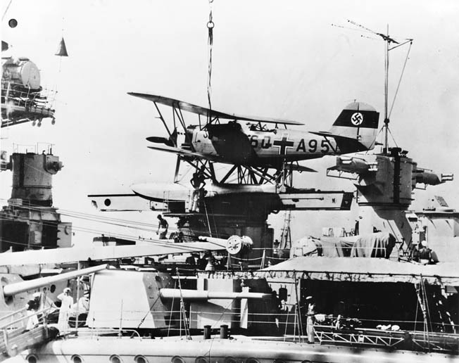 Admiral Scheer's seaplane, mounted on a catapult, spotted Convoy HX-84. The warship survived until April 1945.