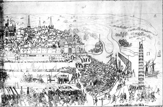 The Siege of Boulogne by King Henry VIII (1491-1547) in 1544, engraved by James Basire, 1788 .