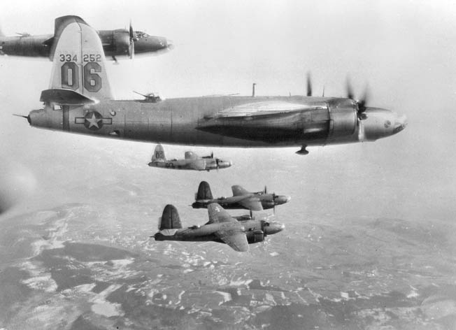 "A formation of USAAF B-26G ""Marauders"" from the 320th Bomb Group, one of the units that took part in Operation Corkscrew. The B-26 could carry 4,000-5,000 pounds of ordnance."