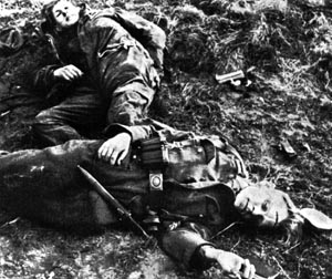 Young German defenders lie dead in the Hürtgen Forest. German casualty figures are hard to come by, but at least 28,000 Germans were killed, wounded, captured, or went missing.