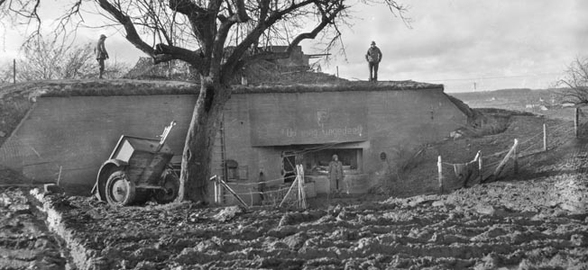 A massive captured German bunker near the town of Germeter, Germany,.