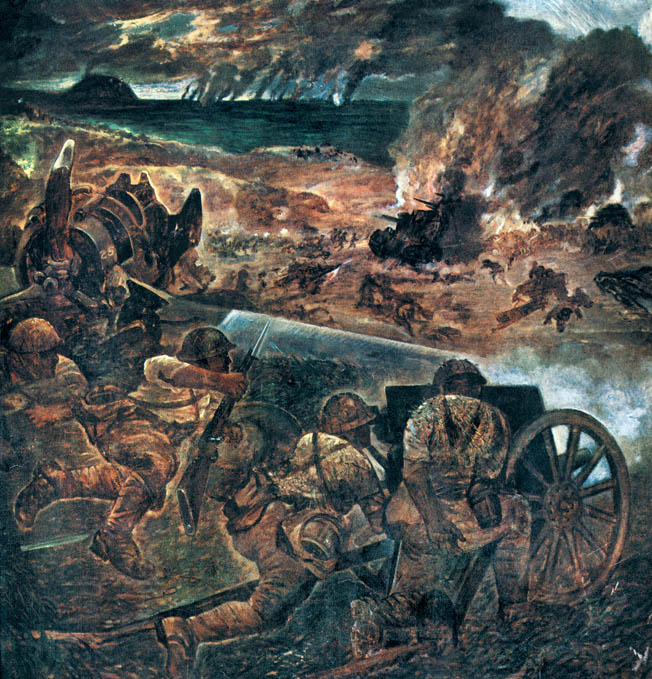 In this painting by an unknown Japanese artist, Japanese soldiers, taking cover behind a wrecked U.S. plane, fire on Marines approaching from the beachhead.
