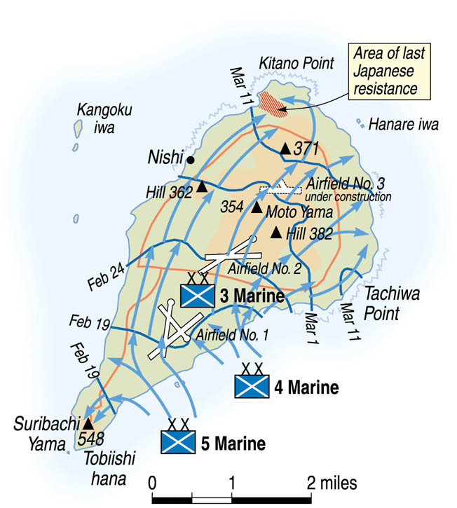 The 4th Marine Division was one of three Marine divisions that landed on the island's southeast beaches and slowly pushed the defenders to the north.