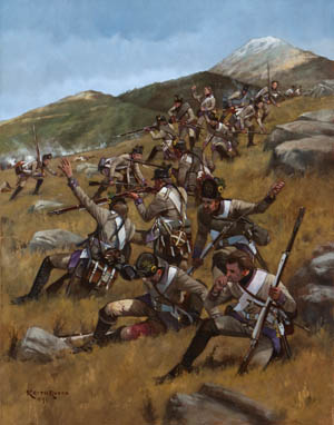 The French division of General Amédée Laharpe rolls over the Austrian position at Mount Pra during the Battle of Montenotte fought April 12, 1796. Montenotte, a minor affair, was a key first step in Bonaparte's plan to separate the Austro-Sardinian army.