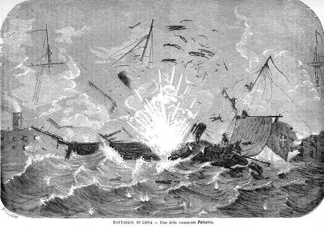Austrian shot set the wardroom of the Palestro on fire and flames ignited some shells stored outside the magazine for easier access during the battle. The ensuing explosion after the battle killed the majority of her crew.