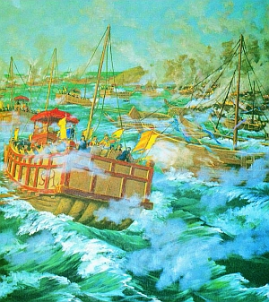 Admiral Yi Sun Shin Defends Against the Japanese Invasion of Korea During the Imjin War.
