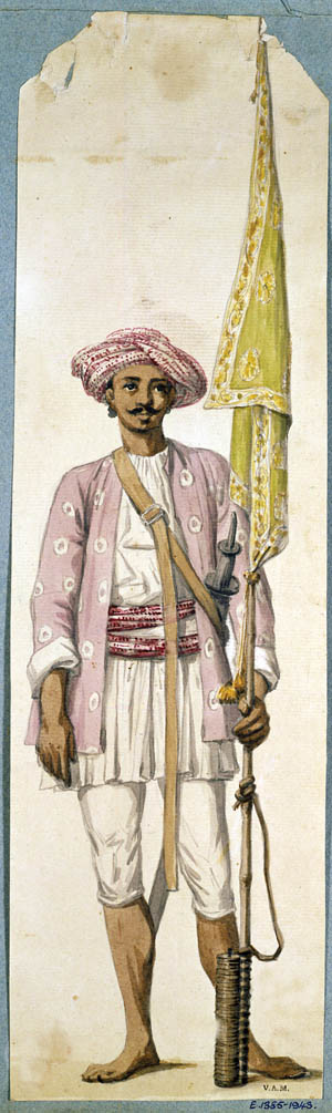 A soldier of the Mysorean army is shown using his rocket as a flagstaff. He wears typical clothing of Tipu's army, including a purple wool jacket, a turban and matching sash. The Mysorean troops fought the British with great determination.