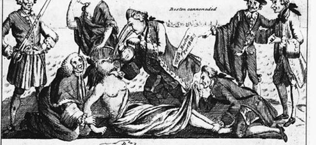 A Cartoon of The Intolerable Acts