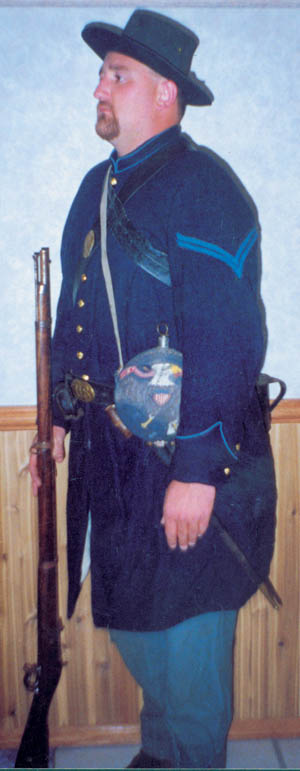 Iowa soldiers in the first months of the American Civil war wore homemade uniforms because no government regulation ones had arrived by the time they marched off.