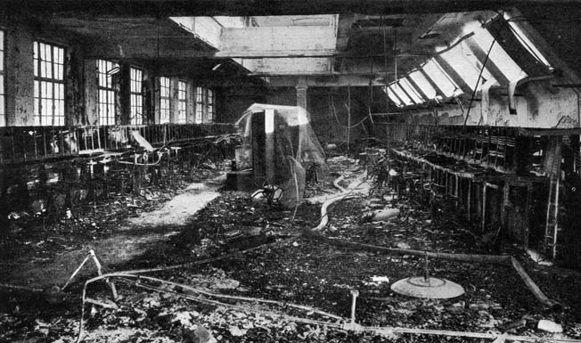 The Wood Street Telephone Exchange, one of London's major communications centers, was nearly destroyed by the German bombing. Some 10,000 telephone lines needed to be repaired.