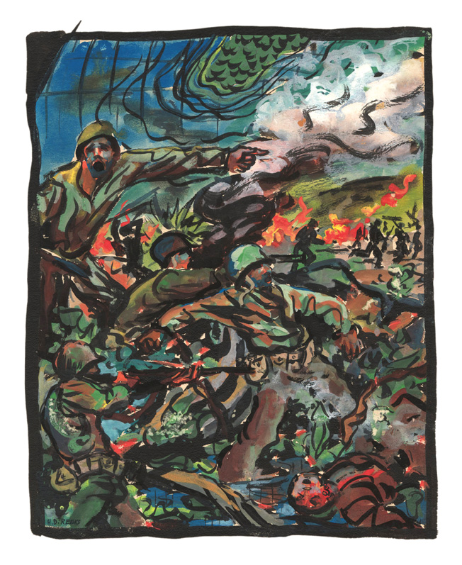 "The horror and chaos of battle is captured in this expressionist painting of Marines in combat by artist Harry Reeks. Chaplain E. Gage Hotaling recalled being attacked on February 22, 1945, by Japanese aircraft on Iwo Jima: ""They came in fast from the sea right over the beach and up to the airfield and dropped their bombs right at the edge of the airfield, about 200 yards from us. That scared me so that I started to shiver again, and shivered and shook for quite a while."""