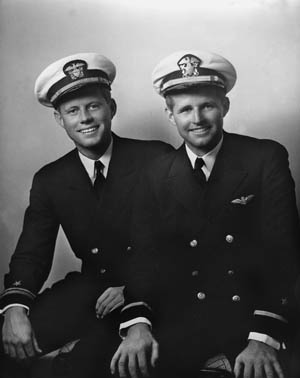 Two of Kennedy's sons served in World War II: Navy Lt. (jg) John F., and Ensign Joseph Jr., photographed in May 1942. Joe Jr. was killed testing a secret drone aircraft in August 1944.