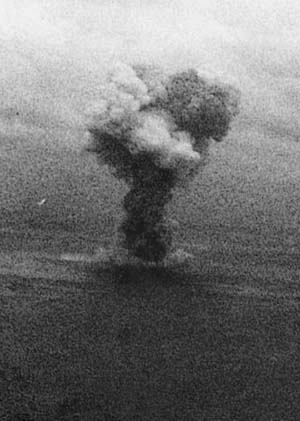 The Japanese battleship Yamato became 'one for the pelicans' as U.S. Navy planes pummeled the giant in the East China Sea.