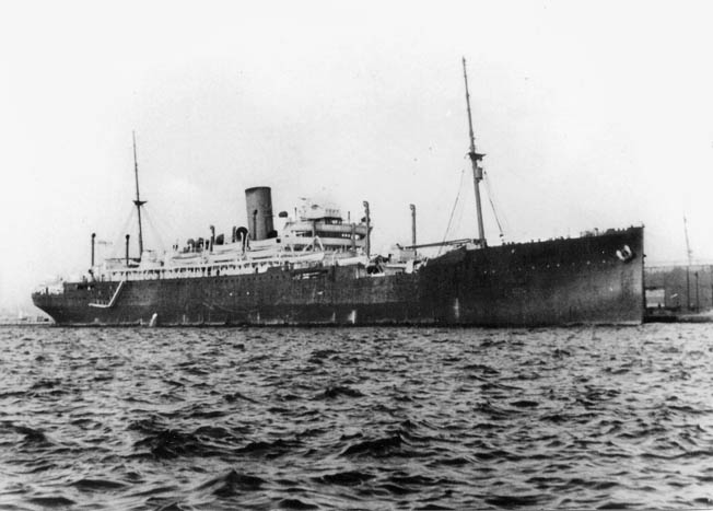 HMS Jervis Bay, shown in 1940 at Dakar, Senegal, was a converted passenger liner with obsolescent armament, but she had an indomitable captain and crew.