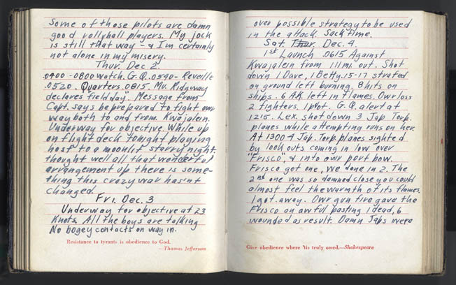 Ed Reynolds's diary pages from December 2-4, 1943, detailed his thoughts during the battle for Kwajalein.