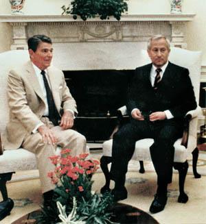 President Reagan meets with Soviet double agent Oleg Gordievsky.