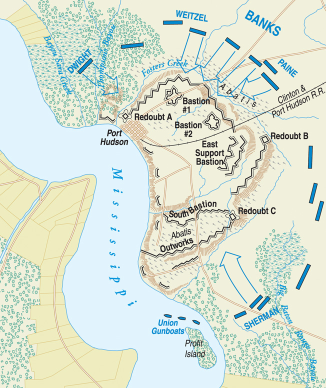 Port Hudson occupied a crucial position on the east bank of the Mississippi, 25 miles north of Baton Rouge. The map shows the Union attacks on the morning of May 27.