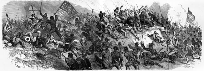 African American soldiers in the 1st and 3rd Louisiana Native Guard storm the Confederate works at Port Hudson, only to be beaten back with heavy losses.