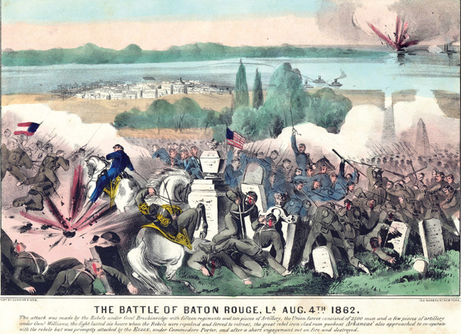 Union and Confederate troops battle among the tombstones in a Baton Rouge cemetery during a failed attempt by Rebel forces to retake the city in the summer of 1862.