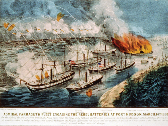 Union warships Hartford, Richmond, and Monongahela attempt to bypass Port Hudson with gunboats lashed to their sides.