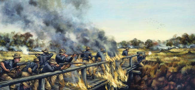 In this painting by Donna  Neary, American infantry  under heavy fire engage  insurgents during the  Philippines insurrection.
