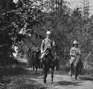 Lawton, in his familiar pith helmet, near Malolos, Philippines.