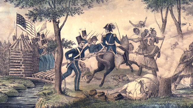 American defenders drive off British soldiers and their Indian allies at Fort Meigs in May 1813.