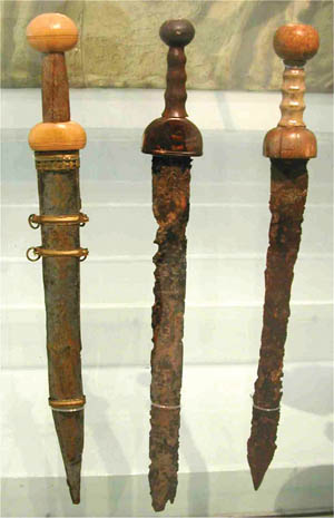 An original gladius blade with reproduction hilt.