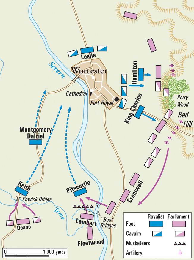 With the Puritans attacking from two directions, Charles led a desperate breakout east of Worcester, aiming for the high ground at Perry Wood and Red Hill.
