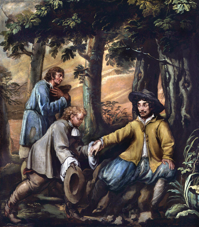 A disguised King Charles II, assisted by the loyal Penderel brothers, hid in the woods at Boscobel House in Shropshire.