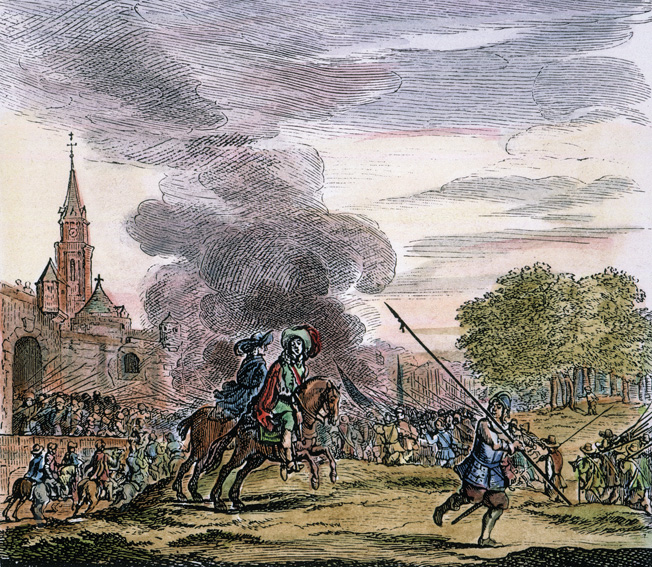 PRINCE CHARLES (later Charles II of England) rides out of the city of Worcester to fight Oliver Cromwell's Parlimentary forces in 1651: Dutch engraving, 1661.
