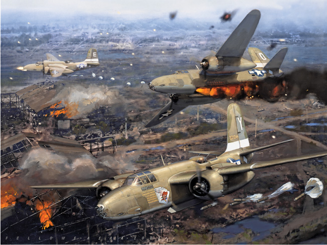 In this vivid painting by artist Jack Fellows, Douglas A-20 Havoc bombers of the 312th Bombardment Group, U.S. Army Air Forces, attack Clark Field in the Philippines on January 14, 1945. The planes use parafrag bombs against Japanese kamikaze aircraft on the ground at the air base near Manila. This was a follow-up raid to one that had taken place a  week earlier, and both were intended to destroy suicide aircraft before they had the chance to damage American ships.
