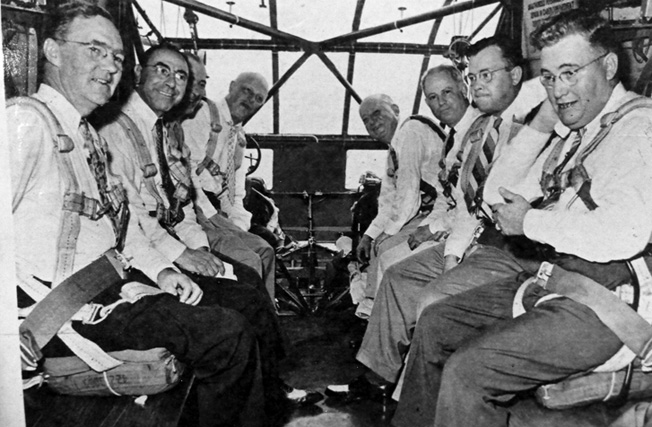 Passengers aboard the ill-fated St. Louis glider flight on August 1, 1943, included from left: St. Louis Deputy Controller Charles Cunningham, Director of Public Utilities Max Doyne, Army Air Forces Lt. Col. Paul Hazelton, Mayor William Becker, St. Louis Chamber of Commerce President Thomas Dysart, Robertson Aircraft President William Robertson, Robertson Aircraft Production Manager Harold krueger, and St. Louis County Court Judge Henry Mueller.
