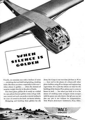 This Waco advertisement appeared in the July 1943 issue of Flying magazine. Waco was a major producer of gliders for the Allied war effort.