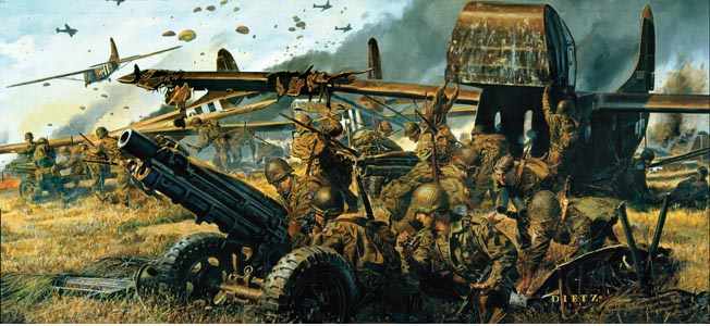 This painting by artist Jim Dietz shows 82nd Airborne Division glider infantrymen unloading a 75mm pack howitzer from a Waco CG-4A glider during Operation Market Garden, September 17, 1944. The glider proved to be an effective tool for delivering men, weapons, and equipment directly to the front lines, but it was also very dangerous.