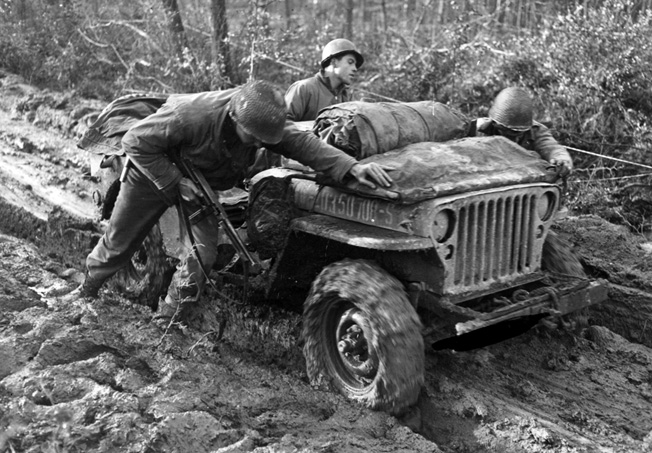 Jeeps, workhorses of the Allied armies around the world, were used to evacuate the wounded in the Hürtgen Forest.