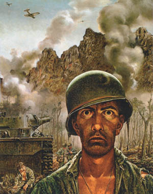 Artist Tom Lea's iconic painting The 2,000 Yard Stare illustrates the toll that combat may take on the psyche of an individual. Although its manifestations varied from one individual to another, shell shock, or combat fatigue, was bound to affect any soldier to some extent.