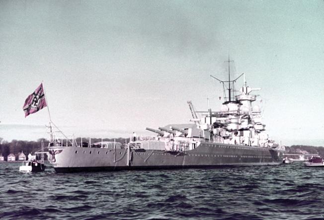 GERMAN WARSHIP, 1938. The German cruiser 'Admiral Scheer' in the harbor at Kiel, Germany. Photograph, summer 1938. Full credit: Sobotta - ullstein bild / The Granger Collection.