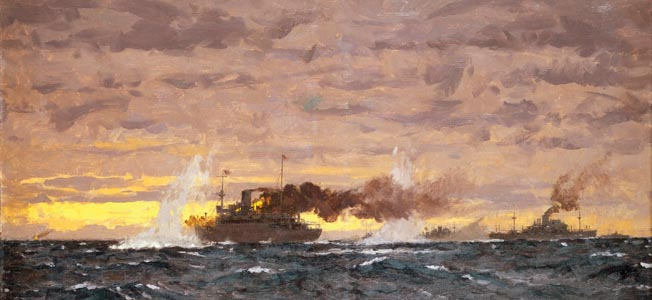 """The Jervis Bay action, 5 November 1940 © National Maritime Museum, London / The Image Works NOTE: The copyright notice must include """"The Image Works"""" DO NOT SHORTEN THE NAME OF THE COMPANY"""
