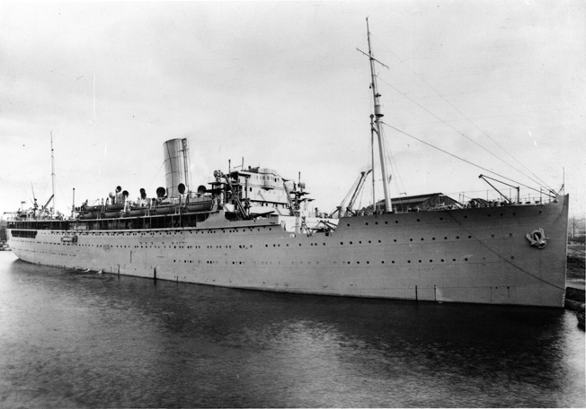 After her conversion to an armed merchant cruiser for convoy escort duty in the Atlantic, HMS Rawalpindi encountered the 26,000-ton German battlecruisers Scharnhorst and Gneisenau and fell victim to the enemy warships in a gallant stand against overwhelming odds. This photo shows Rawalpindi shortly after her conversion was completed.
