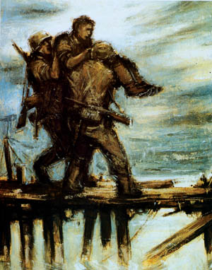 In this painting by war artist Helmut Georg, German soldiers carry a wounded comrade  to a medical aid station during combat in Russia. The German garrison at Ternopil  experienced the wrath of the Red Army and was decimated in the autumn of 1943.
