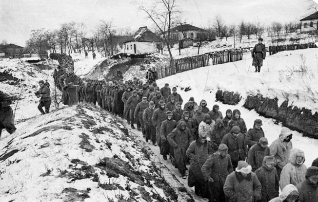 World War 2. 1st and 2nd Ukrainian Front. German POWs taken during the Korsun-Shevchenkovsky Offensive. January or February 1944.