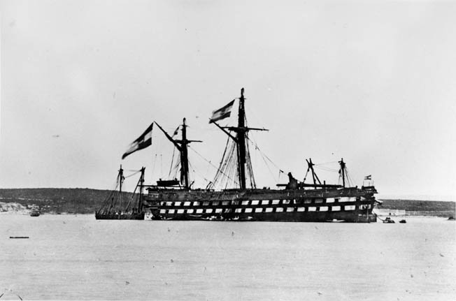 Austrian ship Kaiser undergoes repairs after the battle having suffered damage after ramming an enemy vessel.