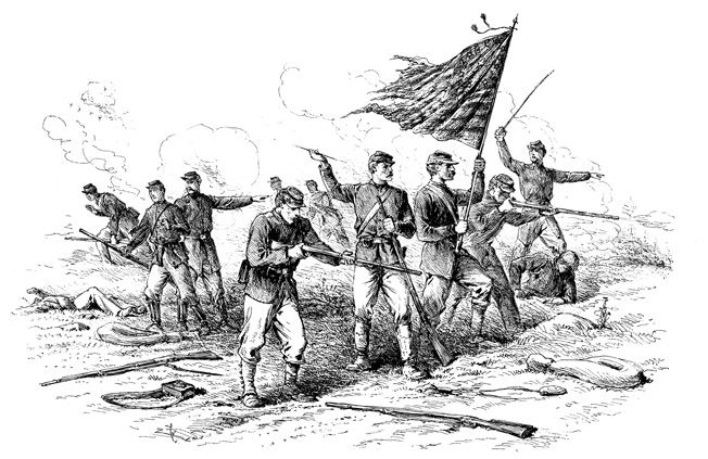 Battlefield artist Edwin Forbes sketched this iconic scene of Union troops making a stand around their colors at Richmond. Brig. Gens. Mahlon Manson and Charles Cruft organized a last-ditch defense at the city cemetery.