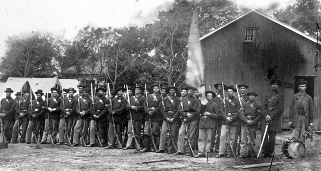 These well-armed troops in the 44th Indiana were typical of the hard-fighting Midwestern boys who rushed to the Union banner in the first months of the war.